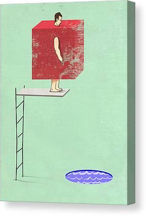 Swim Drawings Canvas Prints
