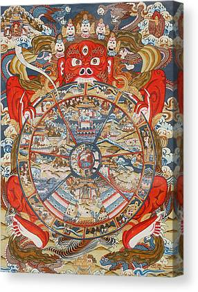 Tibetan Buddhism Drawings Canvas Prints