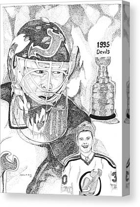This Image Of Martin Brodeur Of The New Jersey Devils Took Over 12 Hours Canvas Prints
