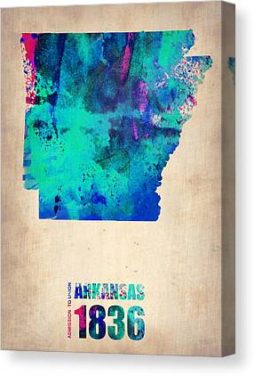 Arkansas Map Canvas Prints