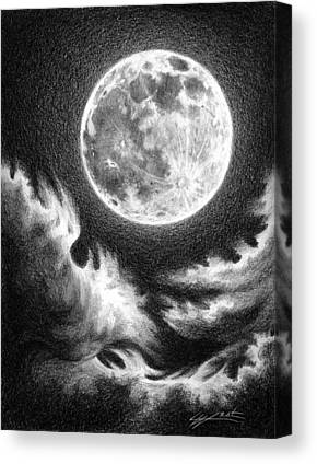 Sea Moon Full Moon Drawings Canvas Prints