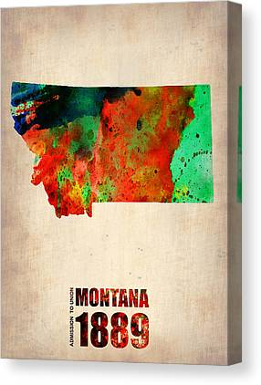 State Of Montana Mixed Media Canvas Prints
