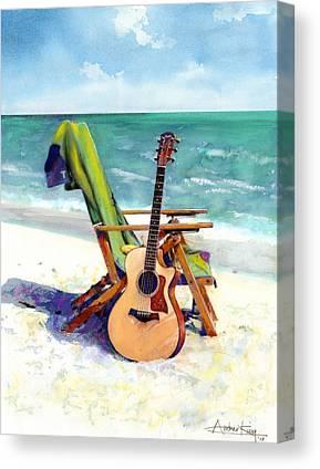 Beach Landscape Mixed Media Canvas Prints