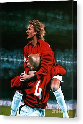 David Beckham Soccer Canvas Prints