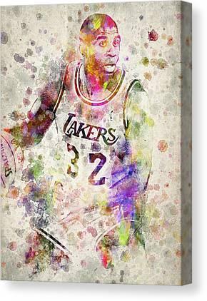 Magic Johnson Drawing Canvas Prints