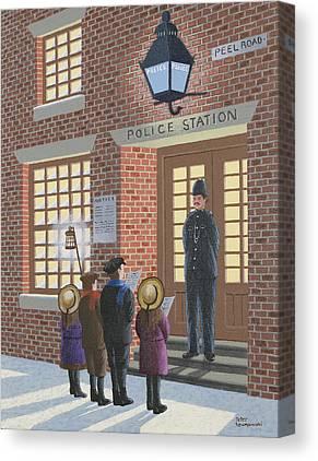 Police Christmas Card Canvas Prints