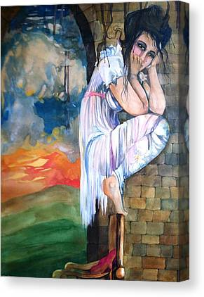 Mushroom Cloud Angel Watercolor Chair Brick Wall Green Hills White Dress Canvas Prints