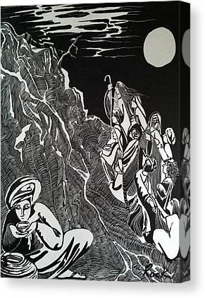 Bible Madman Black White Moon Drawings Canvas Prints