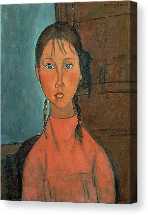 Girl With Pigtails Paintings Canvas Prints