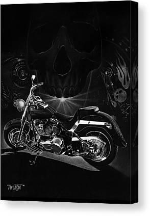Pencil Drawing Motorcycle Canvas Prints