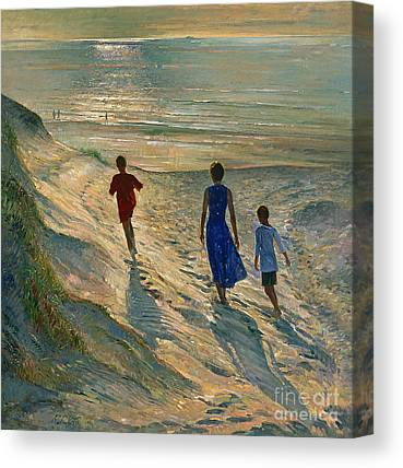 People On Beach Canvas Prints