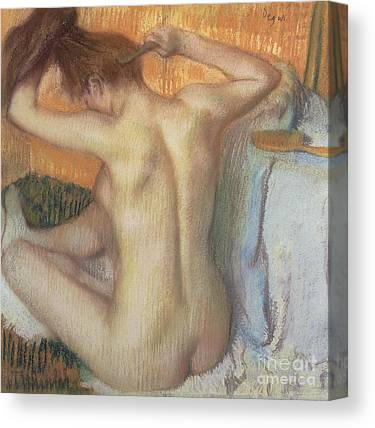 Woman Combing Her Hair Canvas Prints