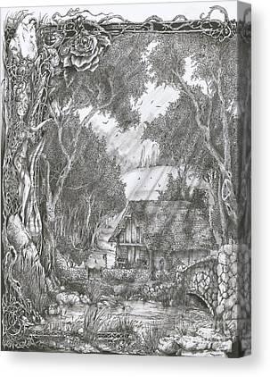 Mystic Setting Drawings Canvas Prints