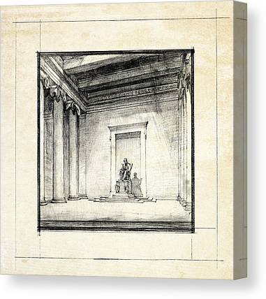 Historic Architecture Drawings Canvas Prints