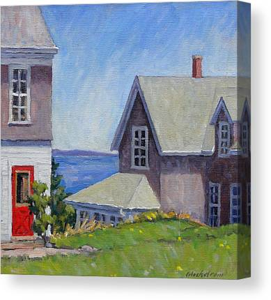 Old Maine Houses Paintings Canvas Prints