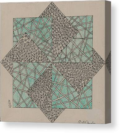 Block Quilts Drawings Canvas Prints