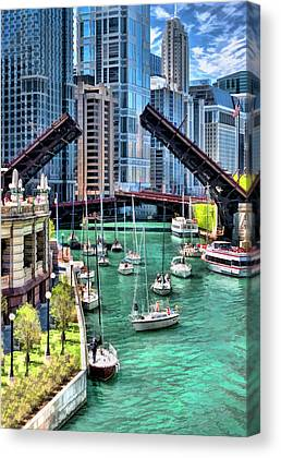 Chicago River Paintings Canvas Prints
