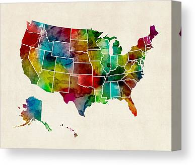 United States Map Canvas Prints Fine Art America - Us map canvas