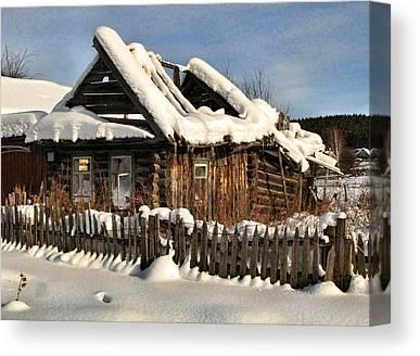 Winter Abondoned Cabin Canvas Prints