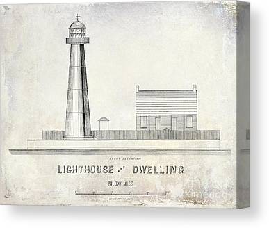 Historic Lighthouse Drawings Drawings Canvas Prints