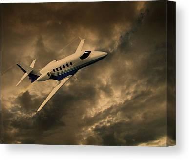 Passenger Plane Mixed Media Canvas Prints
