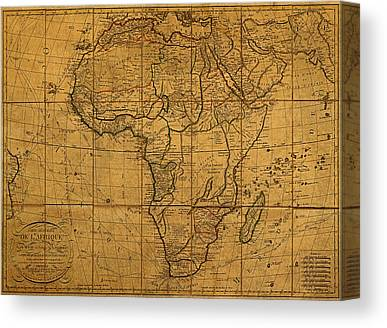 Map Of Africa Mixed Media Canvas Prints