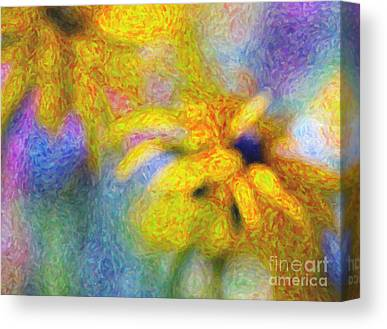 Abstracted Coneflowers Digital Art Canvas Prints