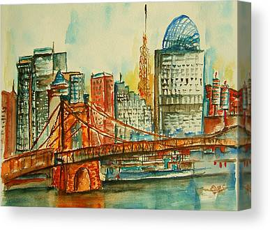 Roebling Bridge Paintings Canvas Prints