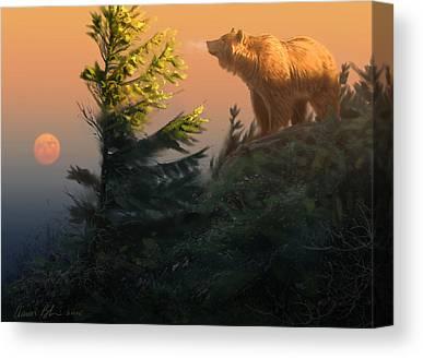Bear Digital Art Canvas Prints