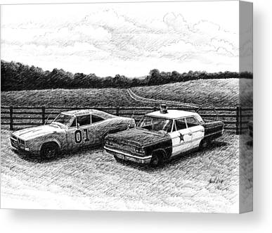Dukes Of Hazard Show Drawings Canvas Prints
