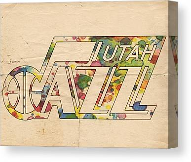 Utah Jazz Digital Art Canvas Prints
