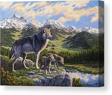 Wolf Cubs Paintings Canvas Prints
