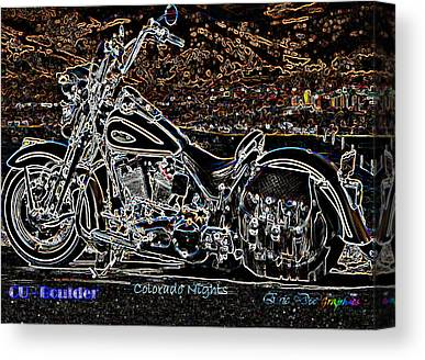 Harley Davidson Over Cu Boulder. University Of Colorado At Boulder Canvas Prints