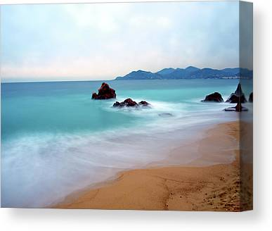 Water Over Rock Canvas Prints