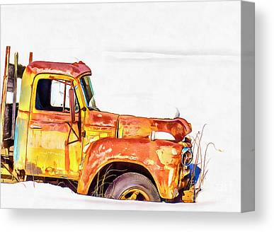 Rusty Truck Digital Art Canvas Prints