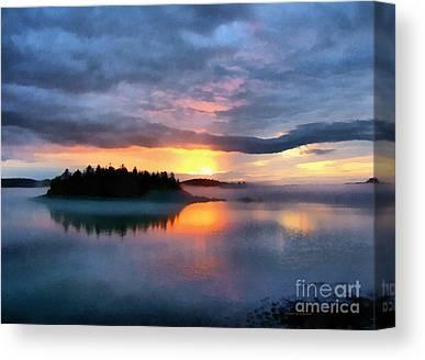 Maine Landscape Digital Art Canvas Prints