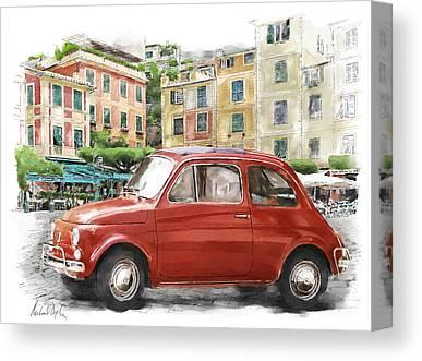Portofino Cafe Digital Art Canvas Prints