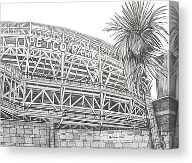 San Diego Padres Stadium Drawings Canvas Prints