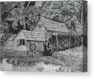 Pen And Ink Old Mill Drawing Canvas Prints