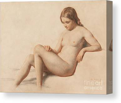 Seated Nude Woman Canvas Prints