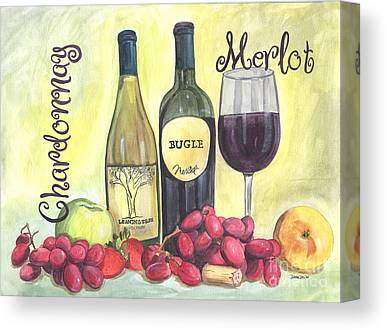 Pinot Noir Drawings Canvas Prints