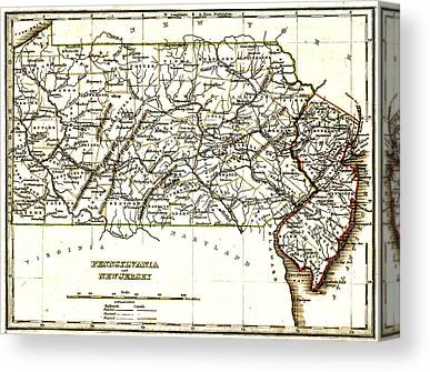1835 Pennsylvania And New Jersey Map Canvas Prints