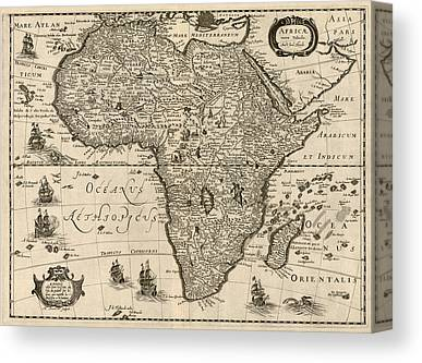 Map Of Africa Drawings Canvas Prints