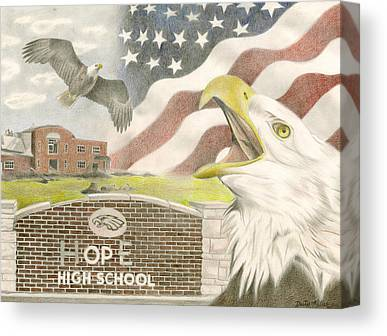 Brick Schools Drawings Canvas Prints