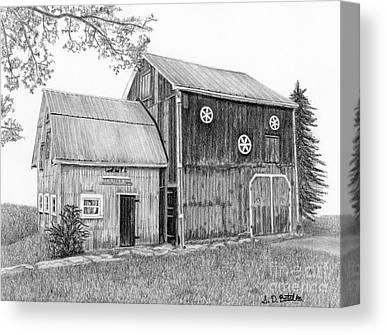 Old Barn Drawing Canvas Prints