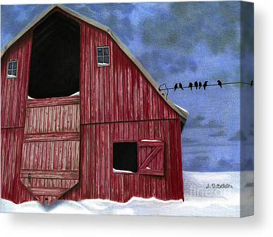 Barns In Snow Canvas Prints