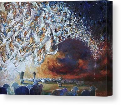 Shepherds Tending The Flocks By Night Canvas Prints