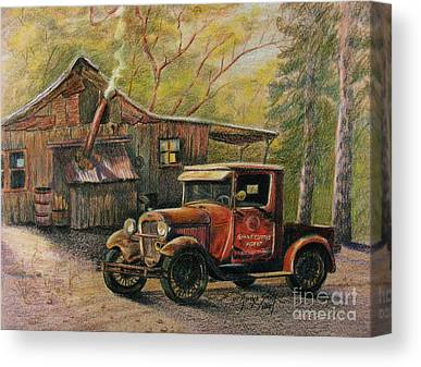 Old Trucks Drawings Canvas Prints