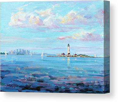 New England Lighthouse Paintings Canvas Prints