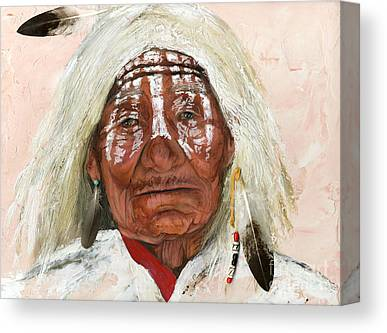 Native American Mixed Media Canvas Prints